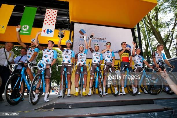 104th Tour de France 2017 / Stage 8 Start / Podium / Team AG2R La Mondiale / Romain BARDET / Jan BAKELANTS / Axel DOMONT / Mathias FRANK / Ben...