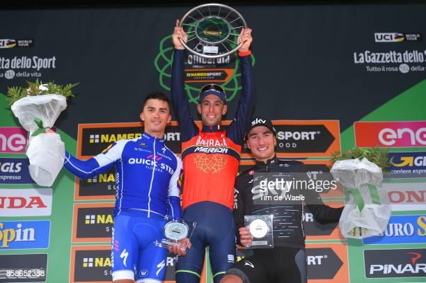 111th Il Lombardia 2017 Podium / Julian ALAPHILIPPE / Vincenzo NIBALI / Gianni MOSCON / Celebration / Trophy / Bergamo Como / IL /