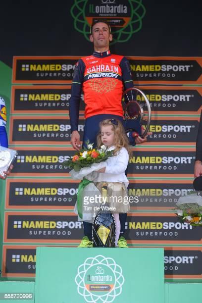 111th Il Lombardia 2017 Podium / Vincenzo NIBALI / Celebration / Trophy / Children / Daughter / Bergamo Como / IL /