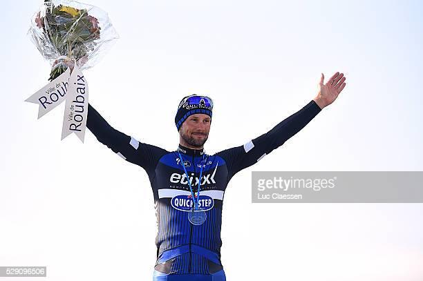114th Paris Roubaix 2016 Podium BOONEN Tom Celebration Joie Vreugde / Compiegne Roubaix / Parijs PR / Tim De WaeleLC/Tim De Waele/Corbis via Getty...