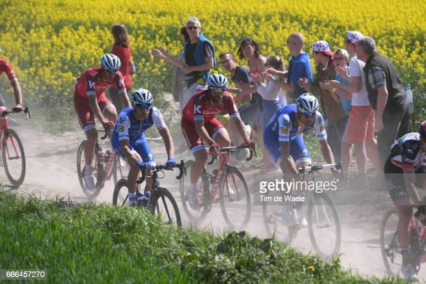 115th Paris Roubaix 2017 Tom BOONEN / Zdenek STYBAR / Marco HALLER / Reto HOLLENSTEIN / Pave Coble Stones/ Fans / Public / Dust/ Compiegne Roubaix /...