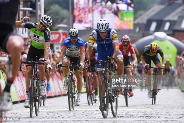13th BinckBank Tour 2017 / Stage 7 Arrival / Philippe GILBERT / Tom DUMOULIN Green Leader Jersey / Peter SAGAN Blue jersey / Celebration / Essen...