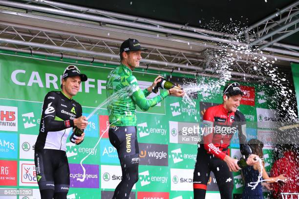 14th Tour of Britain 2017 / Stage 8 Podium / Edvald BOASSON HAGEN / Lars BOOM Green Leader Jersey / Stefan KUNG / Celebration / Trophy / Champagne /...