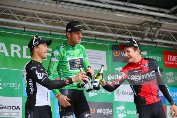 14th Tour of Britain 2017 / Stage 8 Podium / Edvald BOASSON HAGEN / Lars BOOM Green Leader Jersey / Stefan KUNG / Celebration / Champagne / Worcester...