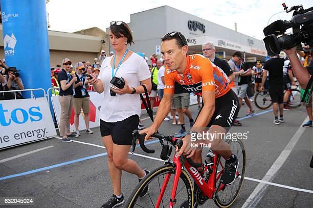 19th Santos Tour Down Under 2017/ Stage 3 Men Start / Phoebe HAYMES Press Officer / Richie PORTE / Orange Leader Jersey / Glenelg Victor Harbor /...