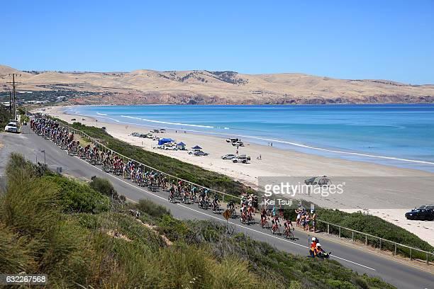 19th Santos Tour Down Under 2017/ Stage 5 Men Peloton / Beach / Landscape / Sea / McLaren Vale Willunga Hill 382m / BikeExchange Stage / Men / TDU /...