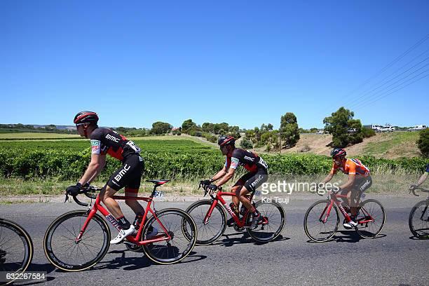 19th Santos Tour Down Under 2017/ Stage 5 Men Rohan DENNIS / Amael MOINARD / Richie PORTE Orange Leader Jersey / McLaren Vale Willunga Hill 382m /...