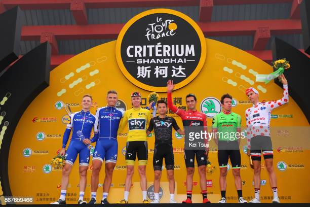 1st TDF Shanghai Criterium 2017 Podium / Petr VAKOC / Marcel KITTEL / Christopher FROOME Yellow Leader Jersey / Kenny ELISSONDE / Alberto CONTADOR /...