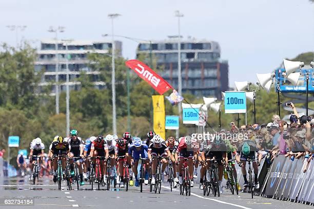 1st Toward Zero Race Melbourne / Cadel Evans Albert Park GP/ Men Arrival / Sprint / Sam BENNET / Danny VAN POPPEL / Scott SUNDERLAND / Edward THEUNS...