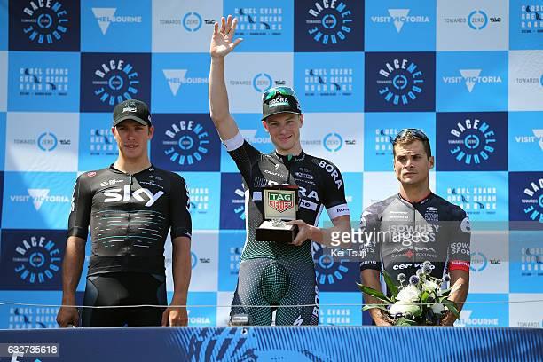 1st Toward Zero Race Melbourne / Cadel Evans Albert Park GP/ Men Podium / Sam BENNET / Celebration / Danny VAN POPPEL / Scott SUNDERLAND / TAG Heuer...