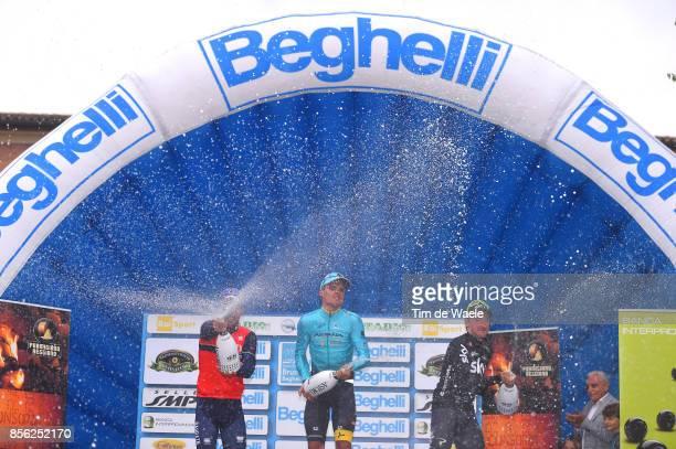 22nd Gran Premio Bruno Beghelli 2017 Podium / Sonny COLBRELLI / Luis LEON SANCHEZ / Elia VIVIANI / Celebration / Champagne / Monteveglio Valsamoggia...