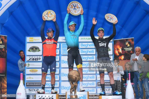 22nd Gran Premio Bruno Beghelli 2017 Podium / Sonny COLBRELLI / Luis LEON SANCHEZ / Elia VIVIANI / Celebration / Trophy / Monteveglio Valsamoggia /...