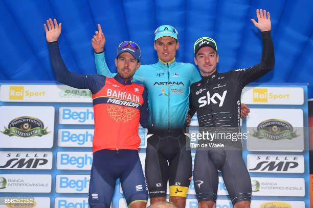 22nd Gran Premio Bruno Beghelli 2017 Podium / Sonny COLBRELLI / Luis LEON SANCHEZ / Elia VIVIANI / Celebration / Monteveglio Valsamoggia / GPBB /
