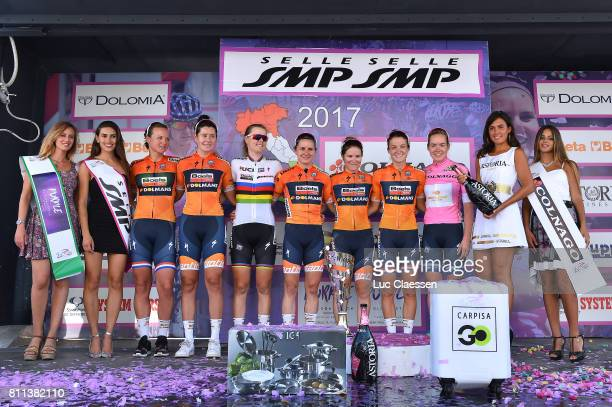 28th Tour of Italy 2017 / Women / Stage 10 Podium / Chantal BLAAK / Nikki BRAMMEIER / Amalie DIDERIKSEN / Megan GUARNIER / Karol Ann CANUEL / Lizzie...