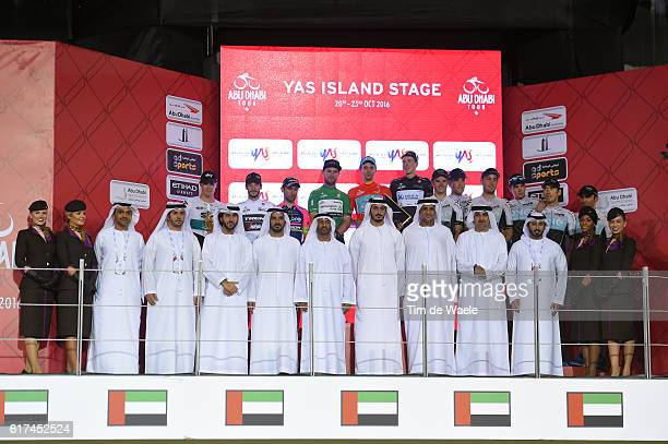 2nd Abu Dhabi Tour 2016 / Stage 4 Podium / Diego ULISSI / Tanel KANGERT Red Leader Jersey/ Nicolas ROCHE / Mark CAVENDISH Green Points Jersey / Jens...