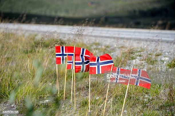 2nd Arctic Race Norway 2014 / Stage 2 Illustration Illustratie / Landscape Paysage Landschap/ Norwegian Flag / Honningsvag Alta Rit Etape /Tim De...