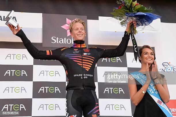 2nd Arctic Race Norway 2014 / Stage 2 Podium/ Andreas ERLAND Black Jersey/ Celebration Joie Vreugde / Honningsvag Alta Rit Etape /Tim De Waele