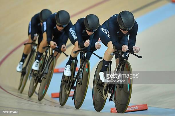 31st Rio 2016 Olympics / Track Cycling Women's Team Pursuit Finals Bronze Tean NEW ZEALAND / Lauren ELLIS / Racquel SHEATH NZL/ Rushlee BUCHANAN NZL/...