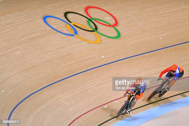 31st Rio 2016 Olympics / Track Cycling Women's Team Sprint Qualifying Tean NETHERLANDS / Laurine VAN RIESSEN / Elis LIGTLEE / Rio Olympic Velodrome /...