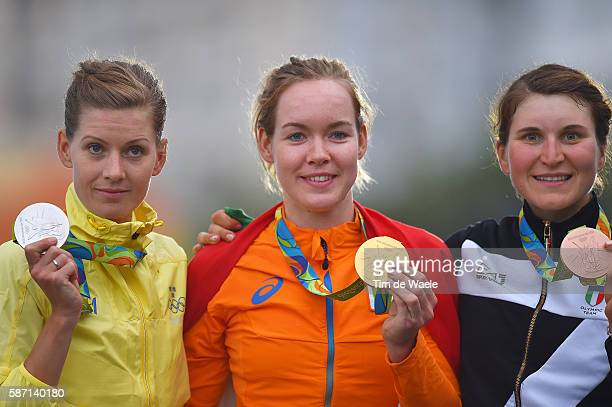 31st Rio 2016 Olympics / Women's Road Race Podium / Emma JOHANSSON Silver Medal / Anna VAN DER BREGGEN Gold Medal / Elisa LONGO BORGHINI Bronze Medal...