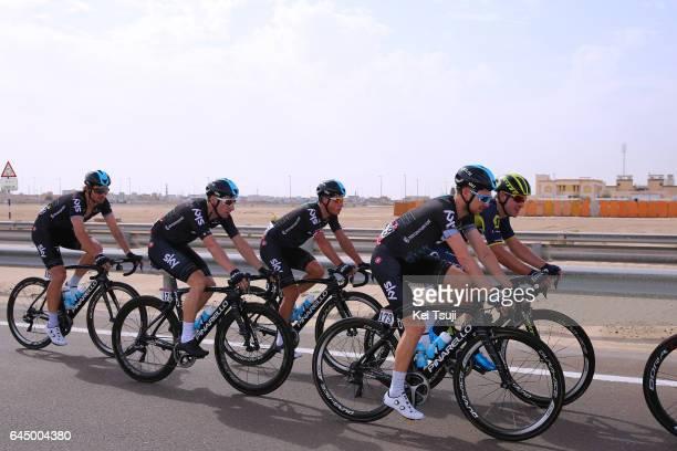 3rd Abu Dhabi Tour 2017 / Stage 2 Owain DOULL / Elia VIVIANI / Team SKY / Abu DhabiAl Maryah Island Abu DhabiBig Flag / Ride to Abu Dhabi / Nation...