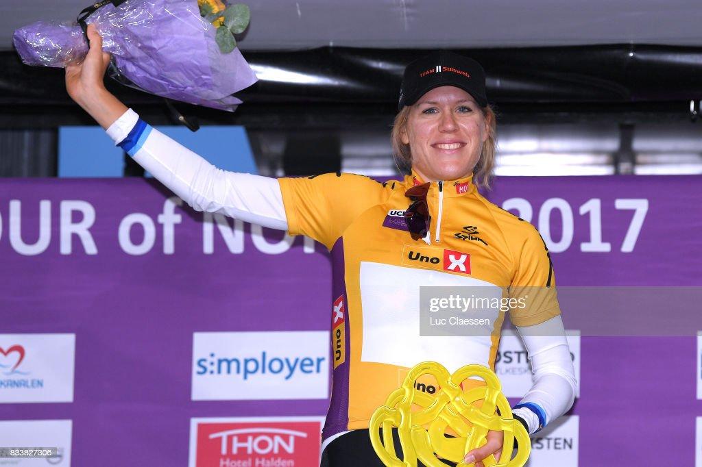3rd Ladies Tour Of Norway 2017 / Prologue Podium / Ellen VAN DIJK (NED) Yellow Leader Jersey / Celebration / Halden - Halden (3,4km) / Individual Time Trial / ITT / Women / TON /