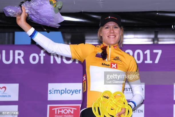 3rd Ladies Tour Of Norway 2017 / Prologue Podium / Ellen VAN DIJK Yellow Leader Jersey / Celebration / Halden Halden / Individual Time Trial / ITT /...
