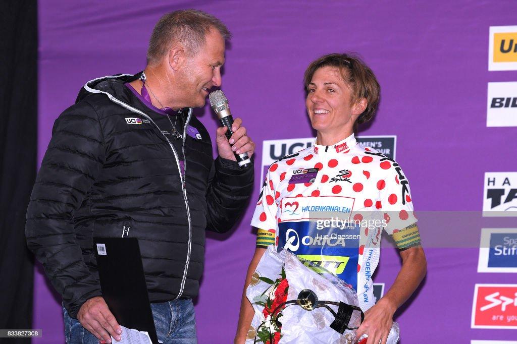 3rd Ladies Tour Of Norway 2017 / Prologue Podium / Katrin GARFOOT (AUS) Polka dot Mountain Jersey / Celebration / Halden - Halden (3,4km) / Individual Time Trial / ITT / Women / TON /