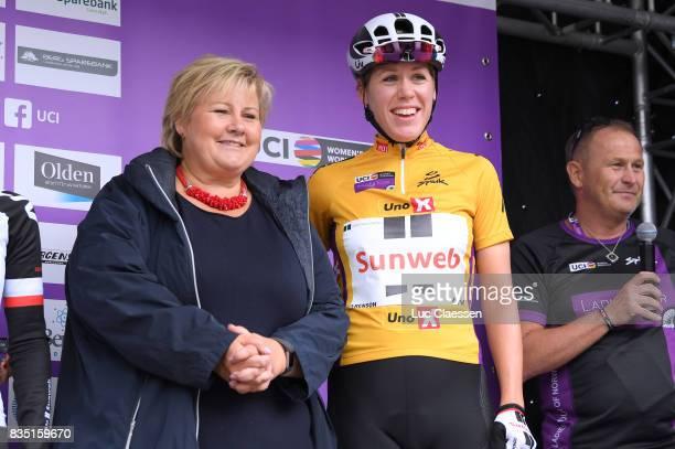 3rd Ladies Tour Of Norway 2017 / Stage 1 Erna SOLBERG Prime Minister / Ellen VAN DIJK Yellow leaders jersey/ Halden Mysen / Women / TON /