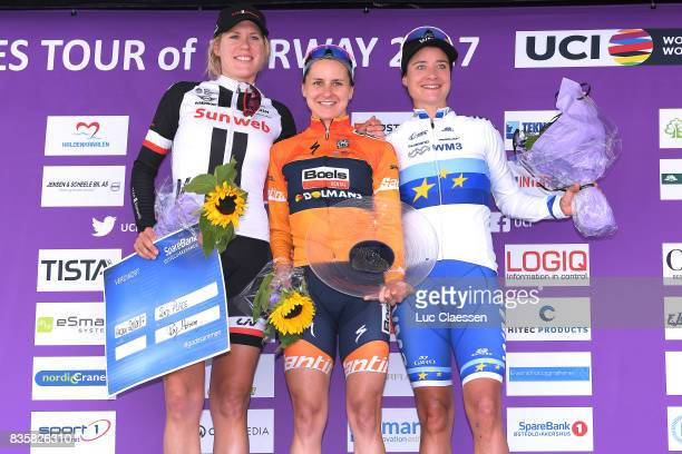 3rd Ladies Tour Of Norway 2017 / Stage 3 Podium / Ellen VAN DIJK / Megan GUARNIER / Marianne VOS / Celebration / Svinesund Halden / Women / TON /