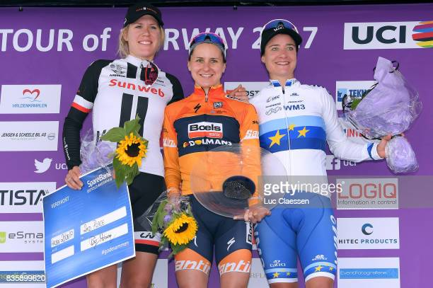 3rd Ladies Tour Of Norway 2017 / Stage 3 Podium / Ellen VAN DIJK / Megan GUARNIER / Marianne VOS Celebration / Svinesund Halden / Women / TON /