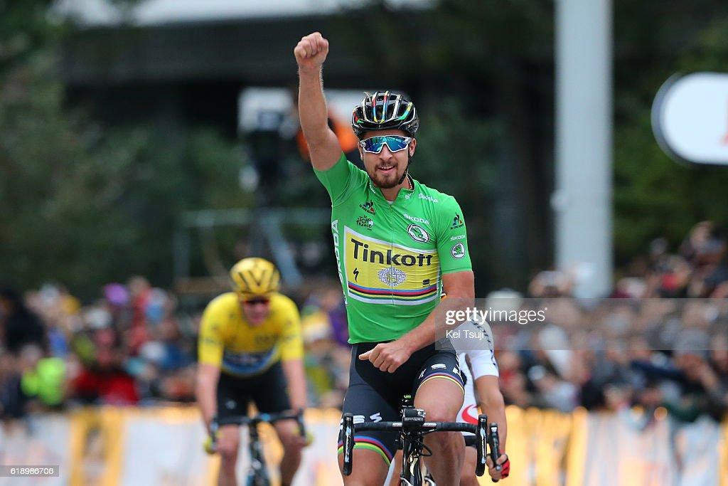 4th Tour de France Saitama Criterium 2016 Arrival / Peter SAGAN (SVK) Green Sprint Jersey Celebration / Sho HATSUYAMA (JPN)/ Yellow Leader Jersey (GBR)/ Saitama - Saitama (57km) / Saitama Criterium / ©Tim De WaeleKT/Tim De Waele/Corbis via Getty Images)