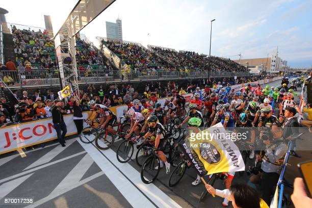 5th Tour de France Saitama Criterium 2017 Start / Christopher FROOME Yellow Leader Jersey / Warren BARGUIL Polka Dot Mountain Jersey / Mark CAVENDISH...