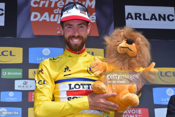 69th Criterium du Dauphine 2017 / Sage 2 Podium / Thomas DE GENDT Yellow Leader Jersey / Celebration / SaintChamond Arlan 587m /