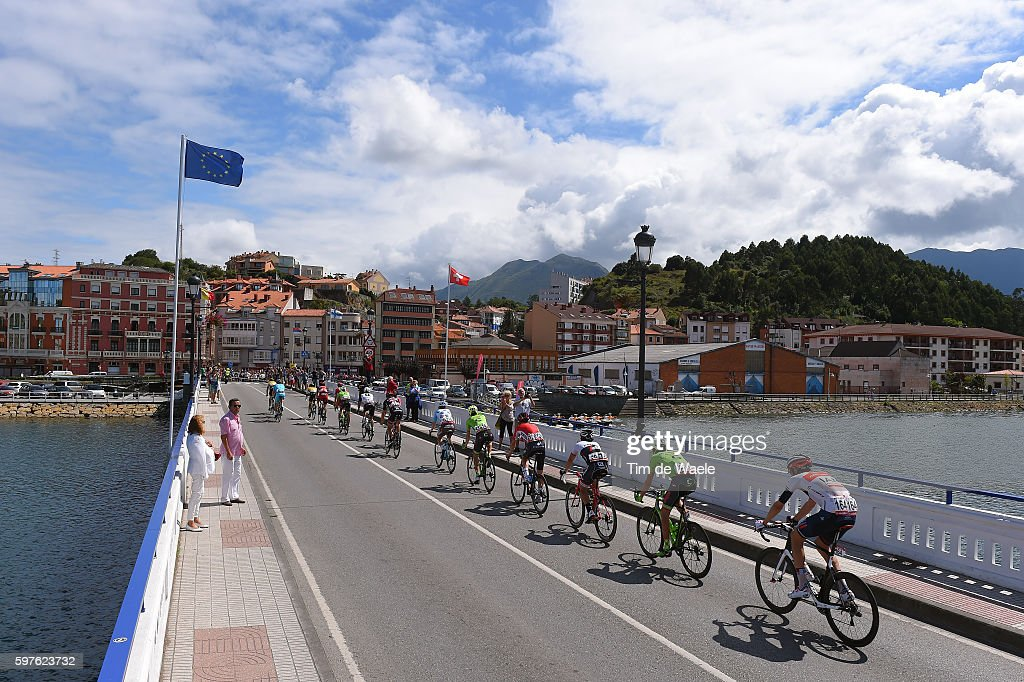 71st Tour of Spain 2016 / Stage 10 Illustration / Vegard Stake LAENGEN / Andrew TALANSKY / Fabio FELLINE / Landscape / Bridge / RIBADESELLA City /...
