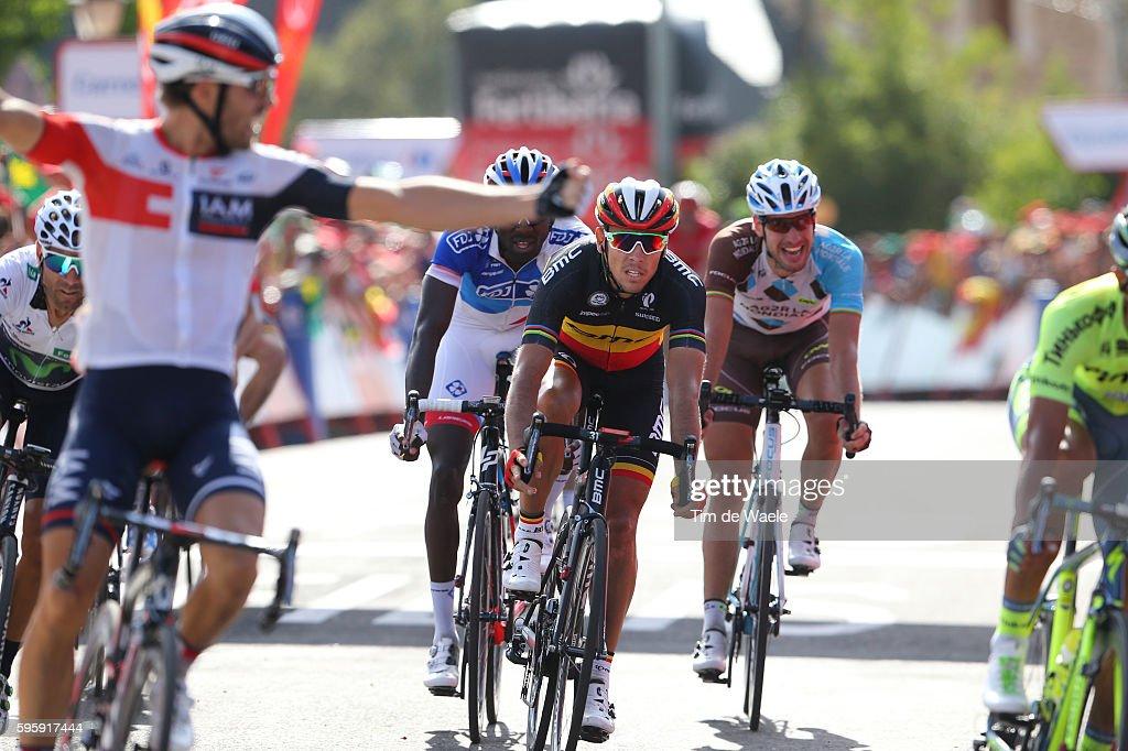 71st Tour of Spain 2016 / Stage 7 Arrival / Jonas VAN GENECHTEN Celebration / Philippe GILBERT / Alejandro VALVERDE White Combination Jersey/...