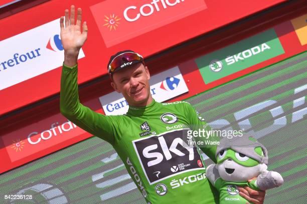 72nd Tour of Spain 2017 / Stage 15 Podium / Christopher FROOME Green Points Jersey / Celebration / Alcala la Real Sierra Nevada Alto Hoya de la Mora...
