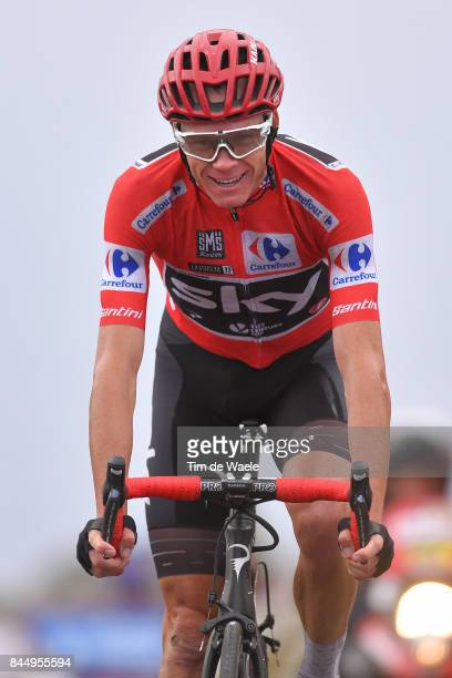 72nd Tour of Spain 2017 / Stage 20 Arrival / Christopher FROOME Red Leader Jersey / Celebration / Corvera de Asturias Alto de L'Angliru 1560m / La...