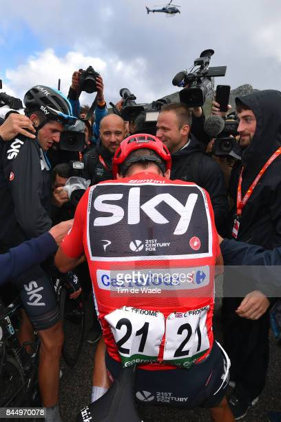 72nd Tour of Spain 2017 / Stage 20 Arrival / Christopher FROOME Red Leader Jersey / Wout POELS / Celebration / Media / Press / Corvera de Asturias...
