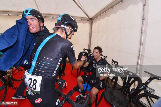 72nd Tour of Spain 2017 / Stage 20 Arrival / Diego ROSA / Gianni MOSCON / Mikel NIEVE ITURALDE / Celebration / Team SKY / Corvera de Asturias Alto de...