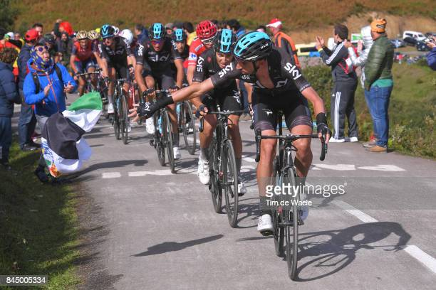72nd Tour of Spain 2017 / Stage 20 David LOPEZ / Diego ROSA / Christopher FROOME Red Leader Jersey / Team SKY / Corvera de Asturias Alto de L'Angliru...