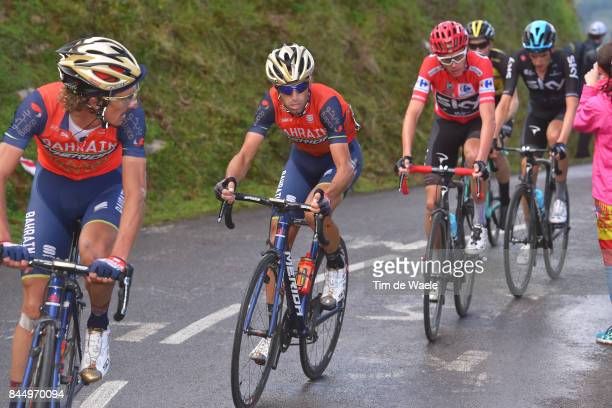 72nd Tour of Spain 2017 / Stage 20 Franco PELLIZOTTI / Vincenzo NIBALI / Wout POELS / Christopher FROOME Red Leader Jersey / Corvera de Asturias Alto...