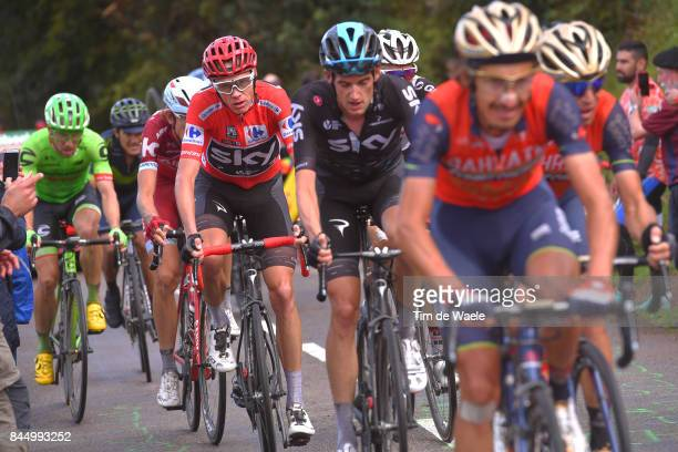 72nd Tour of Spain 2017 / Stage 20 Franco PELLIZOTTI / Vincenzo NIBALI / Wout POELS / Christopher FROOME Red Leader Jersey / Michael WOODS / Corvera...