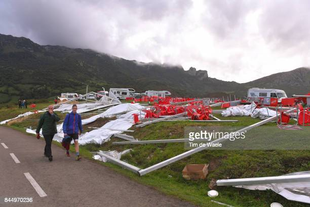 72nd Tour of Spain 2017 / Stage 20 Illustration / Destroyed spectators tent due to tornado wind on Angliru / Corvera de Asturias Alto de L'Angliru...