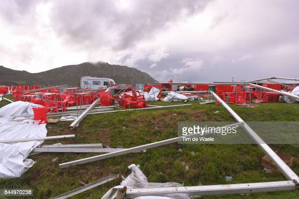72nd Tour of Spain 2017 / Stage 20 Illustration / Destroyed VIP tent due to tornado wind on Angliru / Corvera de Asturias Alto de L'Angliru 1560m /...