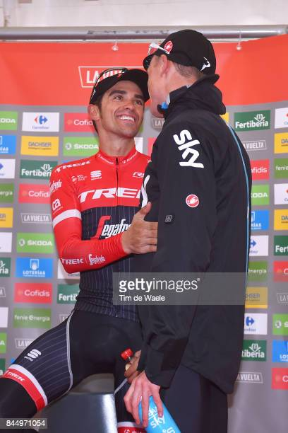 72nd Tour of Spain 2017 / Stage 20 Podium / Alberto CONTADOR / Christopher FROOME / Celebration / Corvera de Asturias Alto de L'Angliru 1560m / La...