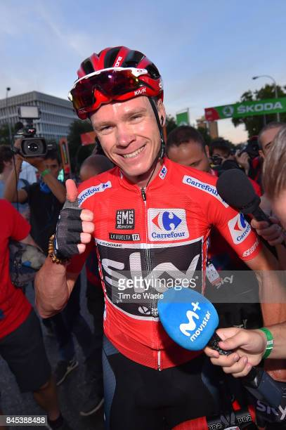 72nd Tour of Spain 2017 / Stage 21 Christopher FROOME Red Leader Jersey Celebration / Press Media / Arroyomolinos Madrid / La Vuelta /