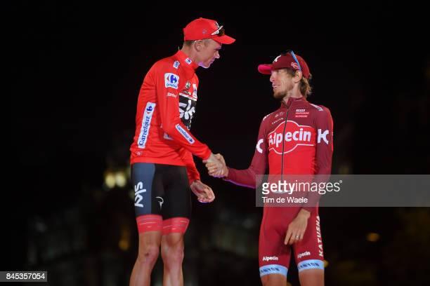 72nd Tour of Spain 2017 / Stage 21 Podium / Christopher FROOME Red Leader Jersey / Ilnur ZAKARIN / Celebration / Arroyomolinos Madrid / La Vuelta /
