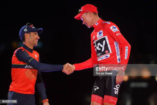 72nd Tour of Spain 2017 / Stage 21 Podium / Vincenzo NIBALI / Christopher FROOME Red Leader Jersey Celebration / Arroyomolinos Madrid / La Vuelta /