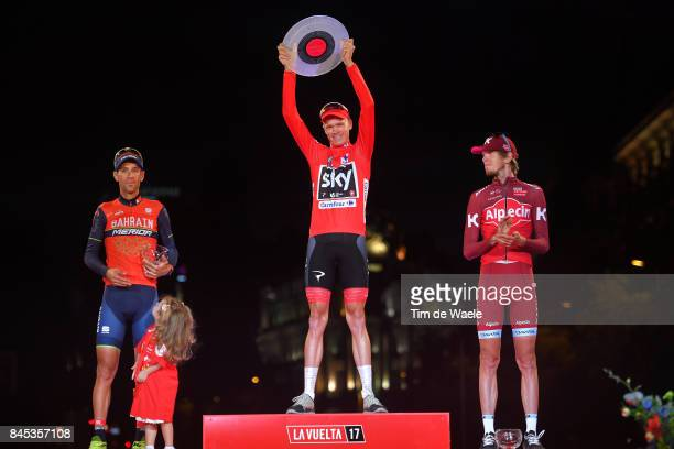 72nd Tour of Spain 2017 / Stage 21 Podium / Vincenzo NIBALI / Christopher FROOME Red Leader Jersey / Ilnur ZAKARIN / Celebration / Children / Trophy...